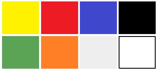 cores disponíveis